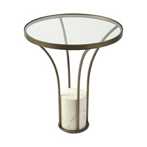 "Picture of 69053-AB - Jacinta II 21"" Round Glass Top Metal and Marble Pedestal End/Side Table"