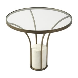 "Picture of 69054-AB - Jacinta III 24"" Round Glass Top Metal and Marble Pedestal End/Side Table"