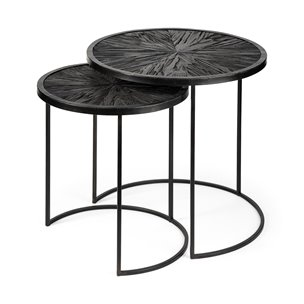 """Picture of 68987 - Chakra 19.7"""" Set of Two Round Dark Wood Top Black Frame Accent Tables"""