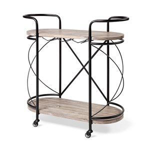 Picture of 68921 - Marlon Black Metal Frame Two Tier Wood Shelves w/Stemware holder Bar Cart